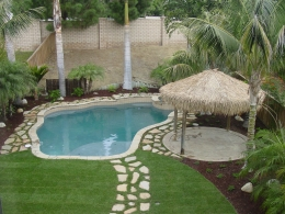 Free form pool with tanning ledge, raised spa, palapa and surrounding stone pathway